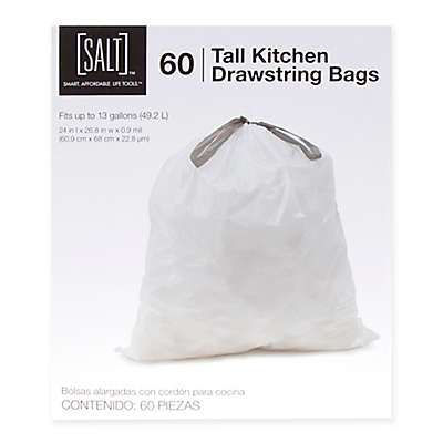 SALT™ 60-Pack 13-Gallon Drawstring Trash Bags in White