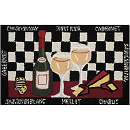 Nourison Everywhere 32-Inch x 19-Inch Half Wine Kitchen Mat in Black