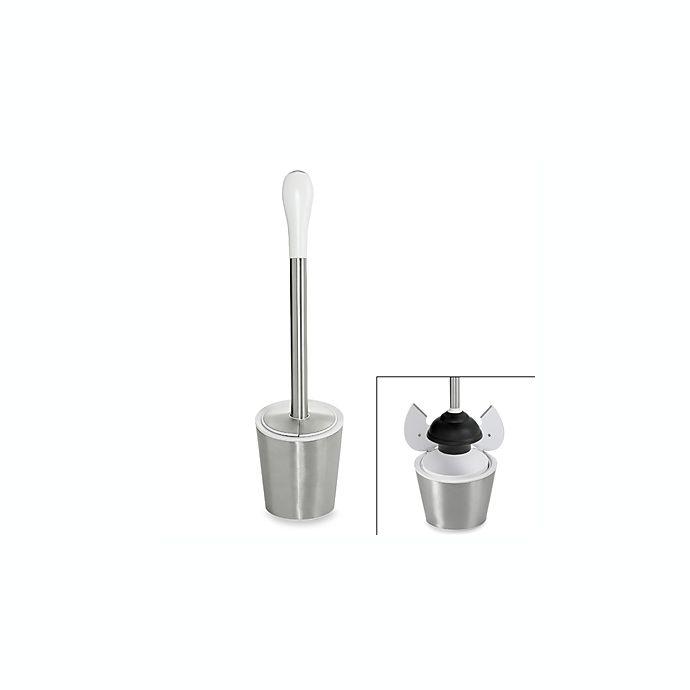 Alternate image 1 for OXO Good Grips® Stainless Steel/White Toilet Plunger