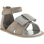 Stuart Weitzman Selina Newborn Size 0-3M with Bow in Gold/Silver