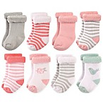 Hudson Baby® Size 12-24M 8-Pack Bird and Rose Terry Rolled Cuff Socks