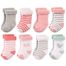 Hudson Baby® 8-Pack Bird and Rose Terry Rolled Cuff Socks