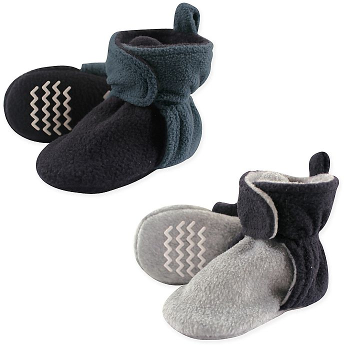 Alternate image 1 for Hudson Baby® 2-Pack Fleece Lined Scooties in Blue/Grey