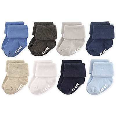 Hudson Baby® 8-Pack Non-Skid Cuff Socks in Blue/Grey