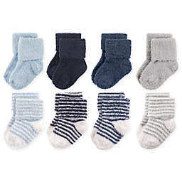 Hudson Baby® 8-Pack Stripe Chenille Socks in Navy/Grey