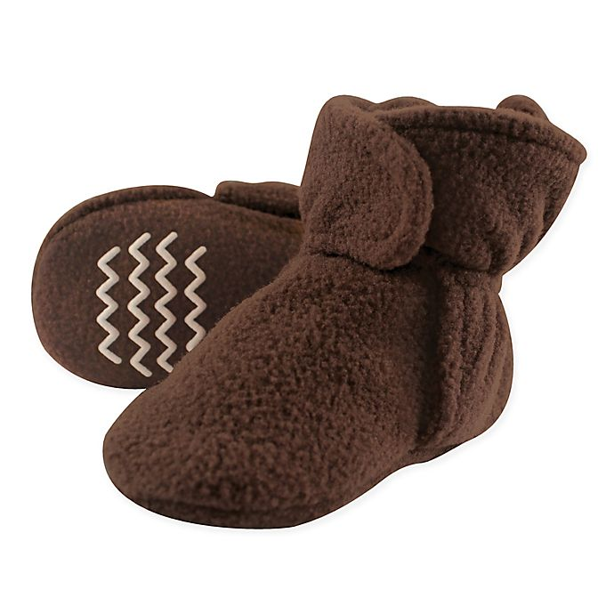 Alternate image 1 for Hudson Baby® Fleece Scooties Sock in Brown
