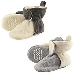 Hudson Baby® 2-Pack Fleece Scooties Slipper in Beige/Grey