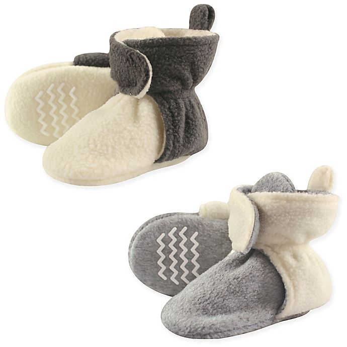 Alternate image 1 for Hudson Baby® 2-Pack Fleece Scooties Slipper in Beige/Grey