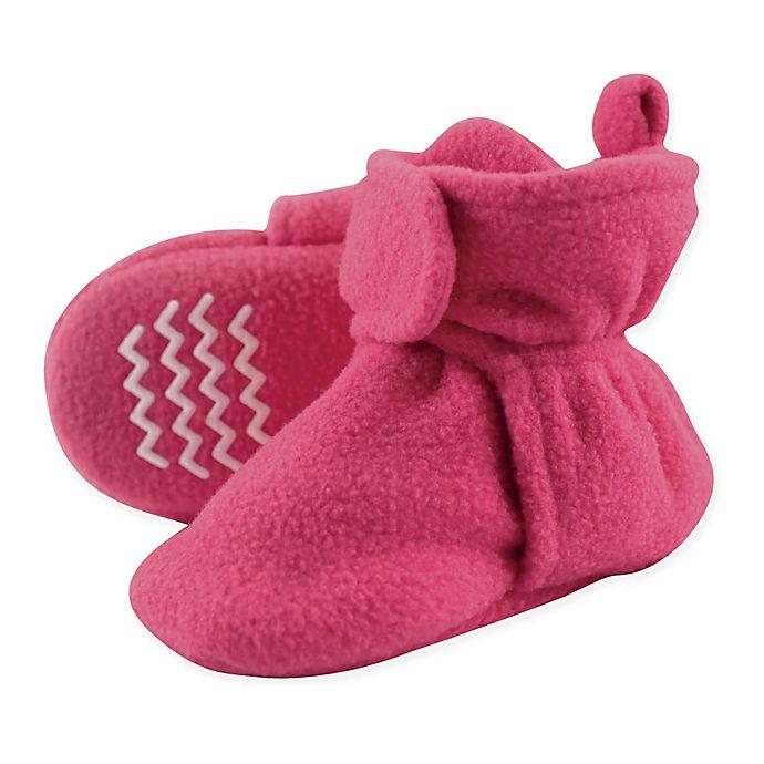 Alternate image 1 for Hudson Baby® Fleece Scooties Slipper in Dark Pink