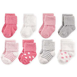 Hudson Baby® 8-Pack Dots and Stripes Chenille Socks in Pink/Grey