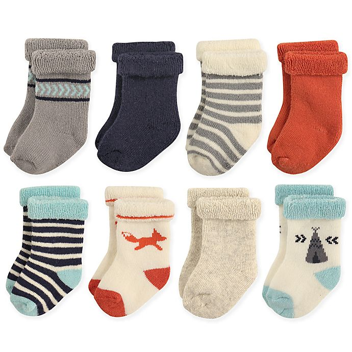 Alternate image 1 for Hudson Baby® Size 12-24M 8-Pack Fox Terry Rolled Cuff Socks