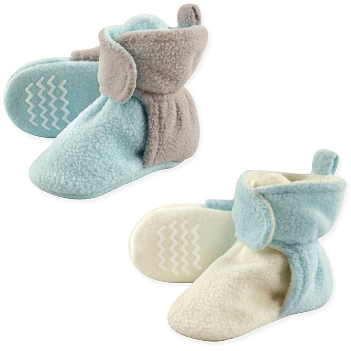 Alternate image 1 for Hudson Baby® 2-Pack Size 0-6M Fleece Lined Scooties in Mint/Grey