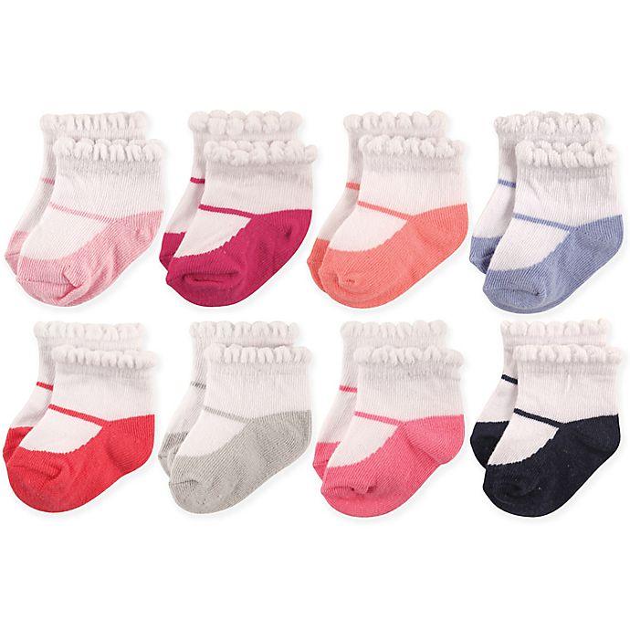 Alternate image 1 for Hudson Baby® 8-Pack Mary Janes Short Crew Socks