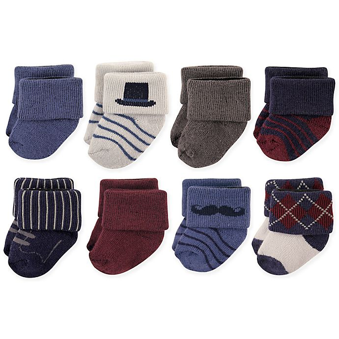 Alternate image 1 for Hudson Baby® Size 6-12M 8-Pack Gentleman Terry Cotton Socks