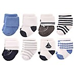 Hudson Baby® Size 0-6M 8-Pack Nautical Terry Rolled Cuff Socks in Light Blue/Navy
