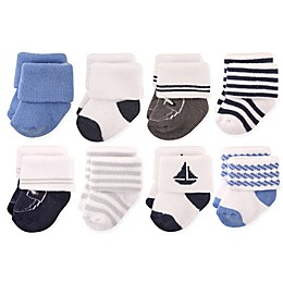 Hudson Baby® 8-Pack Nautical Terry Rolled Cuff Socks in Light Blue/Navy