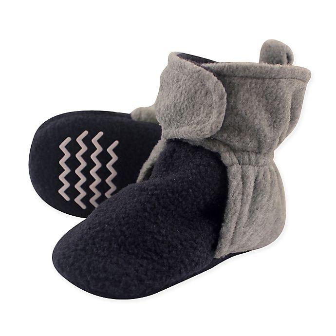 Alternate image 1 for Hudson Baby® Size 3T Fleece Scooties Sock in Navy/Grey