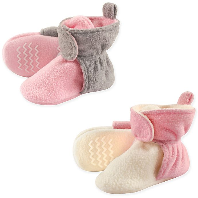 Alternate image 1 for Hudson Baby® 2-Pack Size 0-6M Fleece Lined Scooties in Pink/Cream