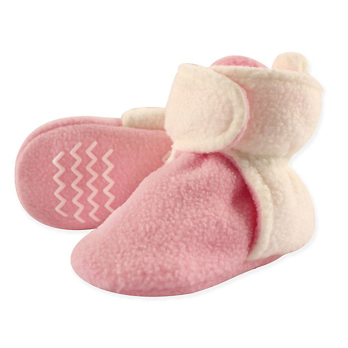 Alternate image 1 for Hudson Baby® Fleece Scooties Sock in Pink/Cream