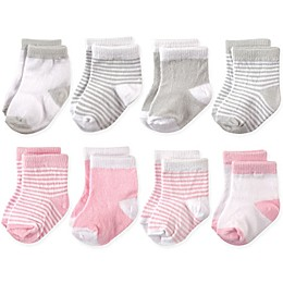 Hudson Baby® 8-Pack Basic Crew Socks in Pink/Grey