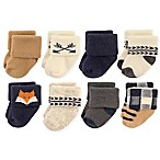 Hudson Baby Size 0-6M 8-Pack Woodland Animal Terry Cotton Sock in Tan/Navy