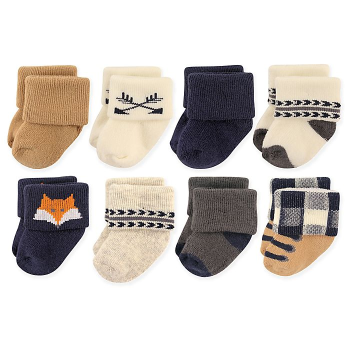 Alternate image 1 for Hudson Baby 8-Pack Woodland Animal Terry Cotton Sock in Tan/Navy