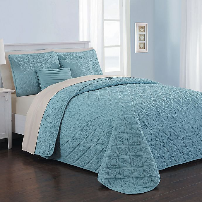 Alternate image 1 for Avondale Manor Del Ray 9-Piece Reversible King Quilt Set in Blue/Taupe