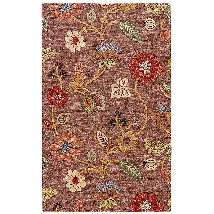 Jaipur Blue Collection Floral Rug In Brown Yellow Bed