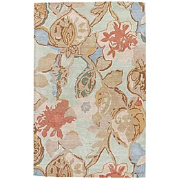 Jaipur Blue Collection Floral Rug in Blue/Red