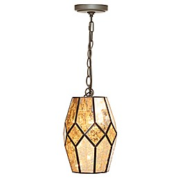 Madison Park  Julia Glass Pendant with Metal Shade with CFL Bulb