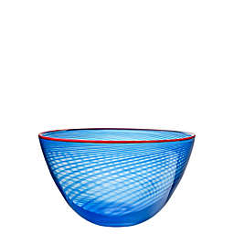 Kosta Boda Red Rim 8.5-Inch Bowl in Blue