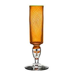 Kosta Boda Red Rim 10.5-Inch Footed Vase in Orange