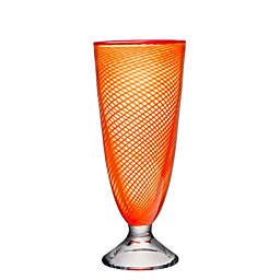 Kosta Boda Red Rim Brains Footed Vase in Orange