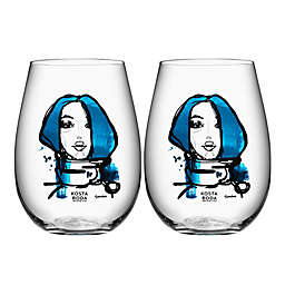 Kosta Boda All About You Tumblers in Miss You Blue (Set of 2)