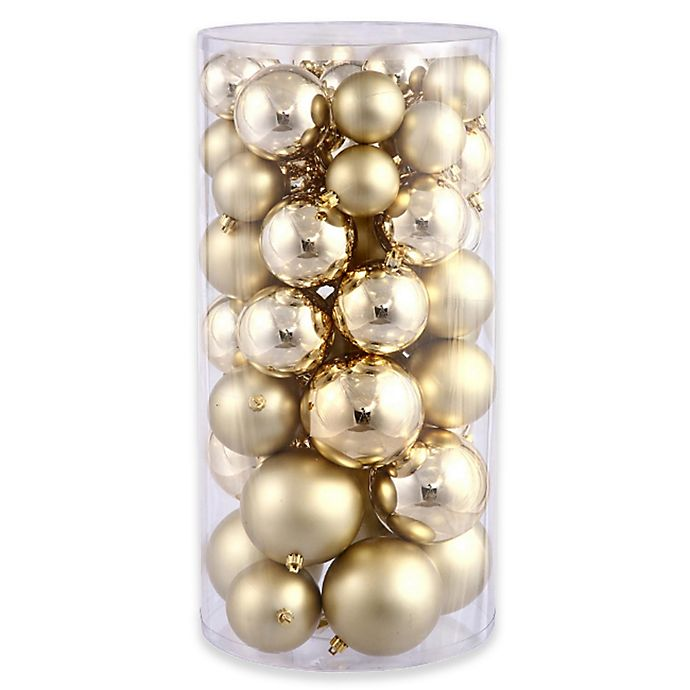 Alternate image 1 for Northlight 50-Pack Christmas Ball Ornaments in Gold