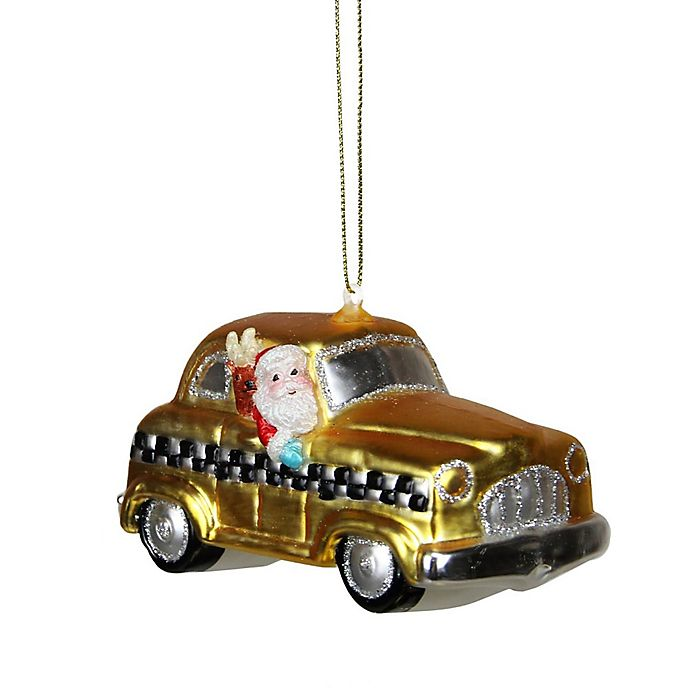 Alternate image 1 for Northlight 4-1/4-Inch Glass Taxi Cab Santa Christmas Ornament