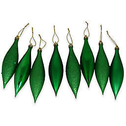 Northlight 5.5-Inch Finial Drop Christmas Ornaments in Green (Set of 8)