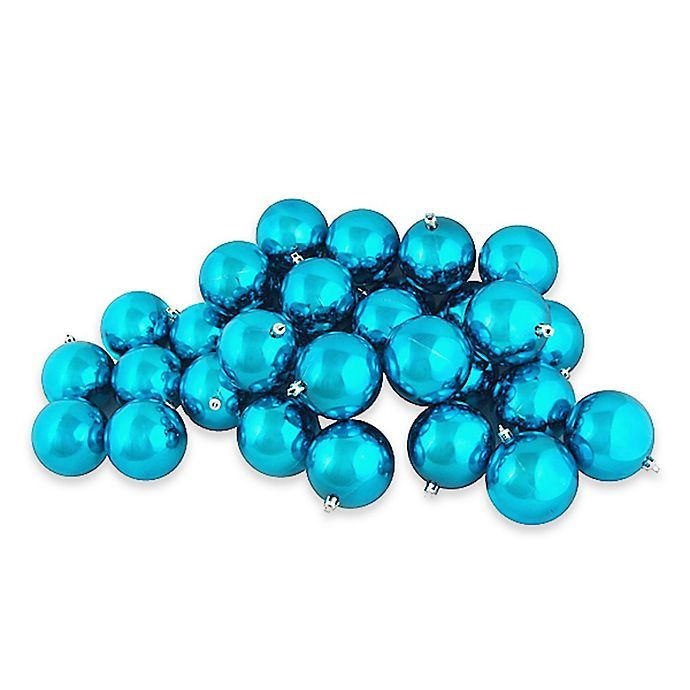 Alternate image 1 for Northlight 4-Inch Shatterproof Christmas Ball Ornaments in Turquoise Green (Set of 12)