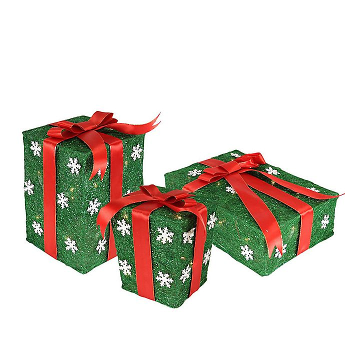 Lighted Christmas Boxes Decoration.Northlight 3 Piece Lighted Snowflake Gift Boxes Christmas