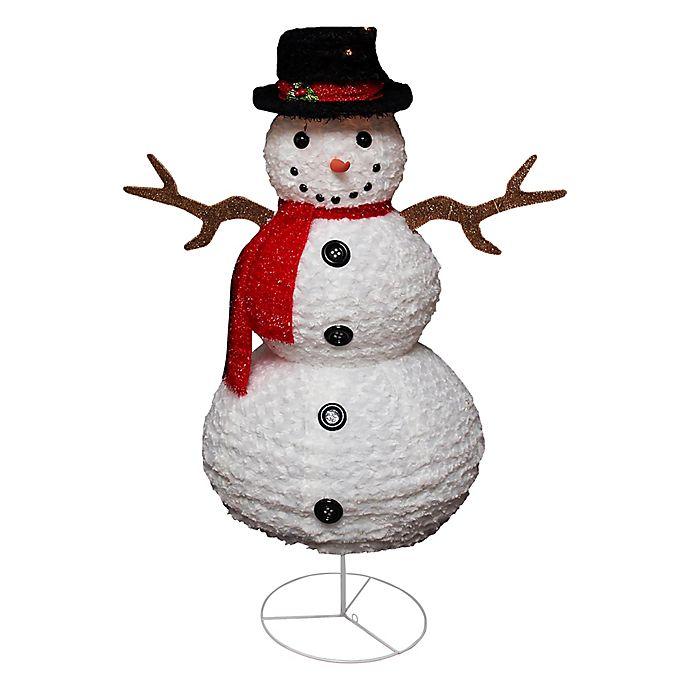 Alternate image 1 for Northlight 48-Inch Pre-Lit Chenille Snowman Lawn Decoration
