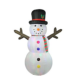LB International 8-Foot Inflatable Lighted Snowman Christmas Decoration