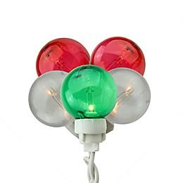 Sienna G30 Globe Icicle 10.25-Feet 100-Light String Light in Red/White/Green