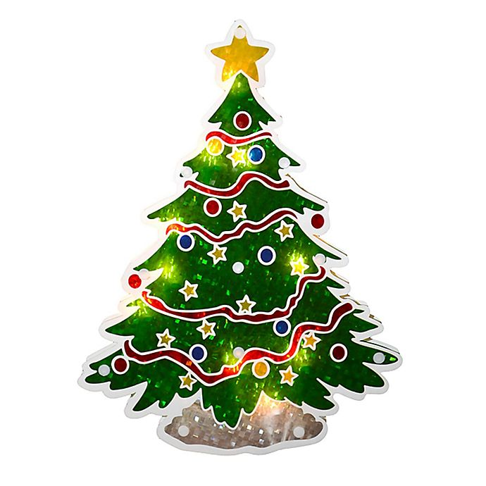 sienna 12 inch lighted holographic christmas tree window decoration