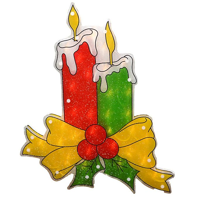 Sienna Lighted Candles 17-Inch Christmas Window Silhouette Decoration with Clear Lights