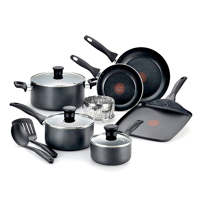 Alternate image 1 for T-fal® Pure Cook Nonstick Aluminum 12-Piece Cookware Set