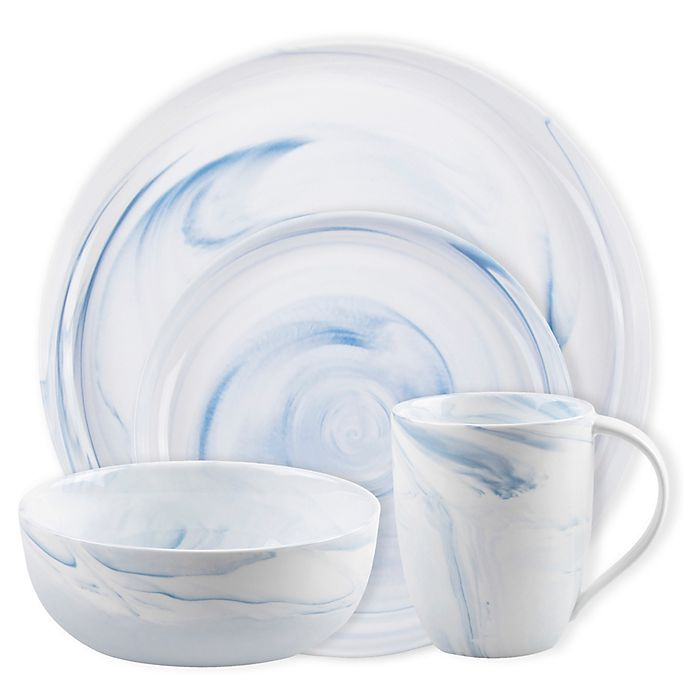 Alternate image 1 for Artisanal Kitchen Supply® Coupe Marbleized  Dinnerware Collection in Blue