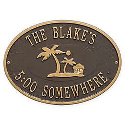 Whitehall Products Island Time Palm Indoor/Outdoor Wall Plaque in Bronze/Gold