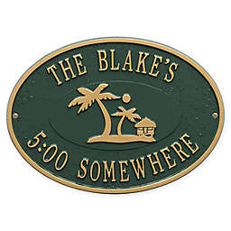 Whitehall Products Island Time Palm Indoor/Outdoor Wall Plaque in Green/Gold