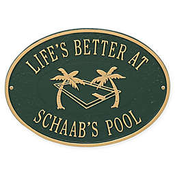Whitehall Products Swimming Pool Party Indoor/Outdoor Wall Plaque in Green/Gold