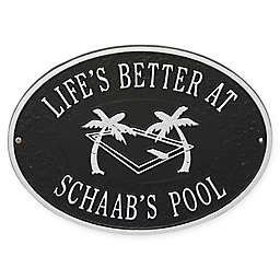 Whitehall Products Swimming Pool Party Indoor/Outdoor Wall Plaque in Black/Silver